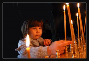 An Orthodox child in worship