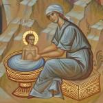 woman washing christ